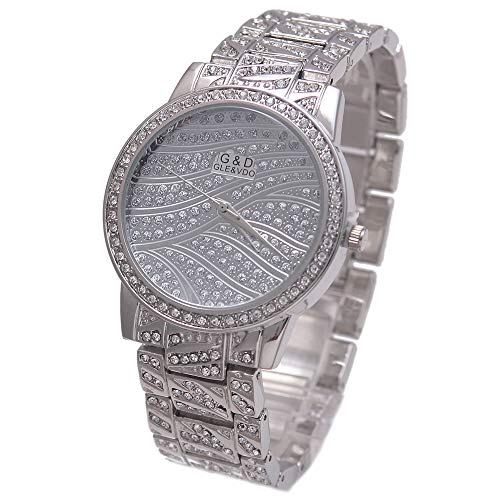HWCOO Hermoso Relojes de Pulsera Reloj de Pulsera de Mujer con Tachuelas Reloj Plateado de Moda Reloj de Cuarzo (Color : 1) (Reloj)