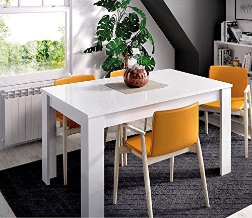 LIQUIDATODO ® - Mesa extensible de 140x90cm moderna y barata ext a 190cm en blanco brillo