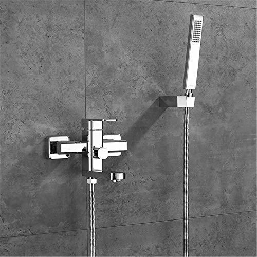 HNBMC Conjunto de grifos de Ducha de baño, Juego de bañera de latón montado en la Pared Conjunto de Grifo Cepillo de Pared de Pared de Pared de Pared Grifo de llenado para baño,Cromo