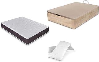 Dormidán - Pack de canapé abatible de Gran Capacidad + colchón viscoelástico + Almohada visco Copos de Regalo (135_x_190_cm, Roble)