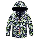 Jingle Bongala Boys Girls Outdoor Waterproof Rain Jacket Fleece Lined Raincoat -Green Grey-130