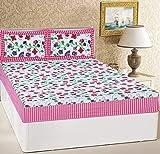 RajasthaniKart® Comfort Rajasthani Jaipuri Traditional Luxury Sanganeri Print 144 TC Cotton Double Size Bedsheet with 2 Pillow Covers - King (Yellow Flower) (Pink)