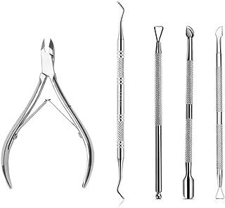 5PCS Premium Cuticle Nippers Pusher Manicure Tools Set, JASSINS Professional Ingrown Toenail File, Cuticle Remover Trimmer...