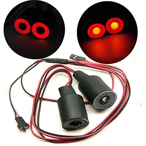 AXspeed 22mm 2 Lights Angel Eyes Light Licht Scheinwerfer / Rücklicht für 1:10 RC Crawler Car (Rot + Gelb)