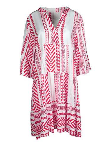 Zwillingsherz Sommerkleid im Azteken Design – Hochwertiges Strandkleid für Damen Frauen Mädchen - Abendkleid Freizeitkleid - Locker luftig - OneSize - Perfekt für Frühling Sommer und Herbst - pink
