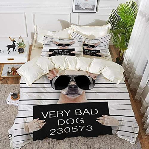 Lyyeaz - Set di biancheria da letto, divertente carlino che tiene un cartello mentre un Mugshot is Taken, copripiumino in microfibra 200 x 200 cm, con 2 federe 50 x 80 cm