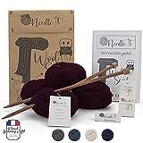 Needle It - Kit completo para tejer lana principiantes - Bufanda de lana - Idea de regalo (Rojo Burdeos)