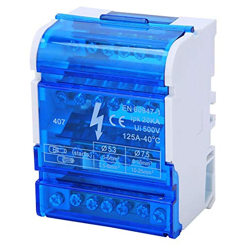 Morsettiere, scatola di giunzione a 4 livelli 407 Scatola di distribuzione morsetti 125A 500V 4 ingressi 24 uscite scatola guida DIN con coperchio tra