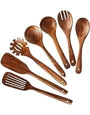 Haudang HHLzernes - Juego de utensilios de cocina de madera de teca natural, 7 unidades