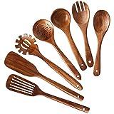 Haudang HHLzernes - Set di utensili da cucina in legno di teak naturale, per cucina, 7 pezzi