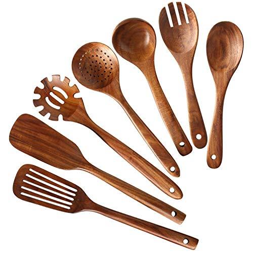 LilyJudy Juego de utensilios de cocina de madera, cucharas de madera para cocinar madera de teca natural, juego de espátulas de cocina, incluye 7 unidades