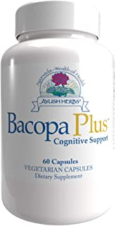 Ayush Herbs Bacopa Plus, Herbal Ginkgo Biloba Supplement for Memory and Nervous System Support, Brain Supplement, 60 Veget...