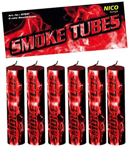 Nico 6X Smoke Tube Rauchfackeln Rauchbomben Rauchgenerator Raucherzeuger Rauchtopf (rot)