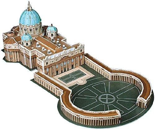 Playtastic 3D Modellbau Puzzle: Faszinierendes 3D-Puzzle Petersdom mit Petersplatz in Rom, 56 Teile (Kinder Spielzeug)