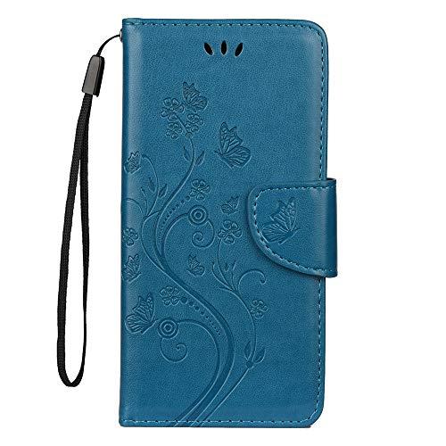 Sunrive Hülle Für BQ Aquaris X2/X2 Pro, Magnetisch Schaltfläche Ledertasche Schutzhülle Hülle Handyhülle Schalen Handy Tasche Lederhülle(Prägung Marineblau s) MEHRWEG