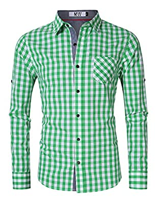 Mrwonder Men's Casual Oktoberfest Costume Fit Button Down Plaid Dress Shirts