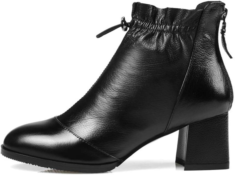 YAN Damen Stiefeletten, Mode Mode Mode Rough Heels Rutschfeste Rüschen Schuhe Outdoor Wanderschuhe Schwarz Rot   Weiß Party & Evening  2f59cc