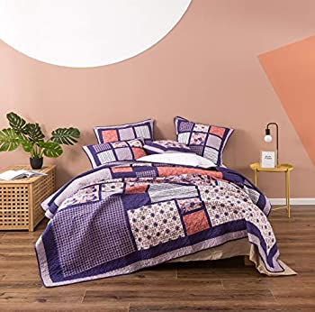 DaDa Bedding Cotton Patchwork Quilt Floral Bedspread - Bohemian Cherry Blossom Quilted Design Coverlet Set - Reversible Bright Vibrant Plum Purple & Peach - King - 3-Pieces - Designed in USA
