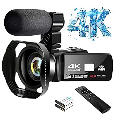 4K Video Camera Ultra HD Camcorder 48.0MP IR Night Vision Digital Camera WiFi Vlogging Camera with External Microphone and Lens Hood, 3 in Touch Screen from Lincom Tech