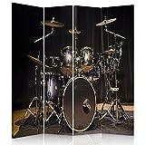 Legendarte - Biombo - Separador para interiores Drum Kit 145 x 180 cm (4 paneles)