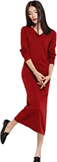 Womens Sweater Dress Vneck Solid Knit Cashmere Long Sleeve Ankle Length Dresses Spring Fall