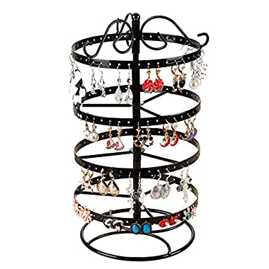 SURAVO 4 Tiers 88 Pairs Detachable Rotating Jewelry Organizer Earring and Necklace Holder Display Stand (Black)
