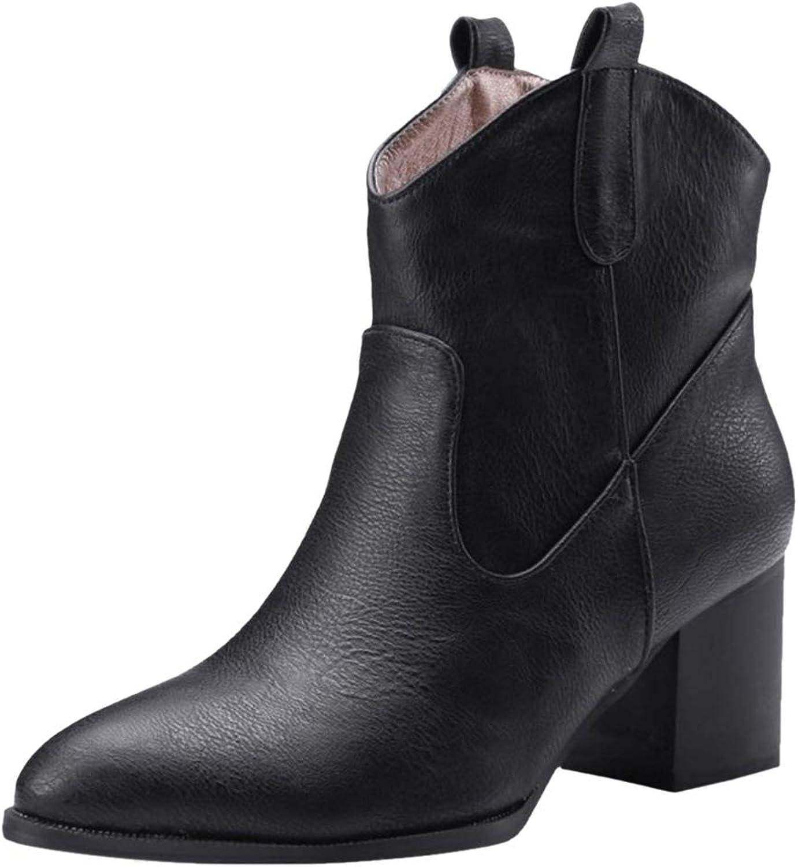 TAOFFEN Women Slip On Ankle Boots Block Heel