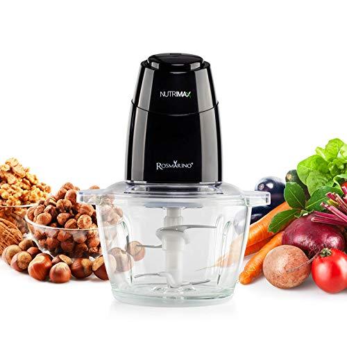 Rosmarino - Picadora eléctrica universal - 350 W, 1,5 L, cuchillas dobles de acero inoxidable - 2 velocidades - trituradora para carne, frutas, verduras y alimentos para bebés