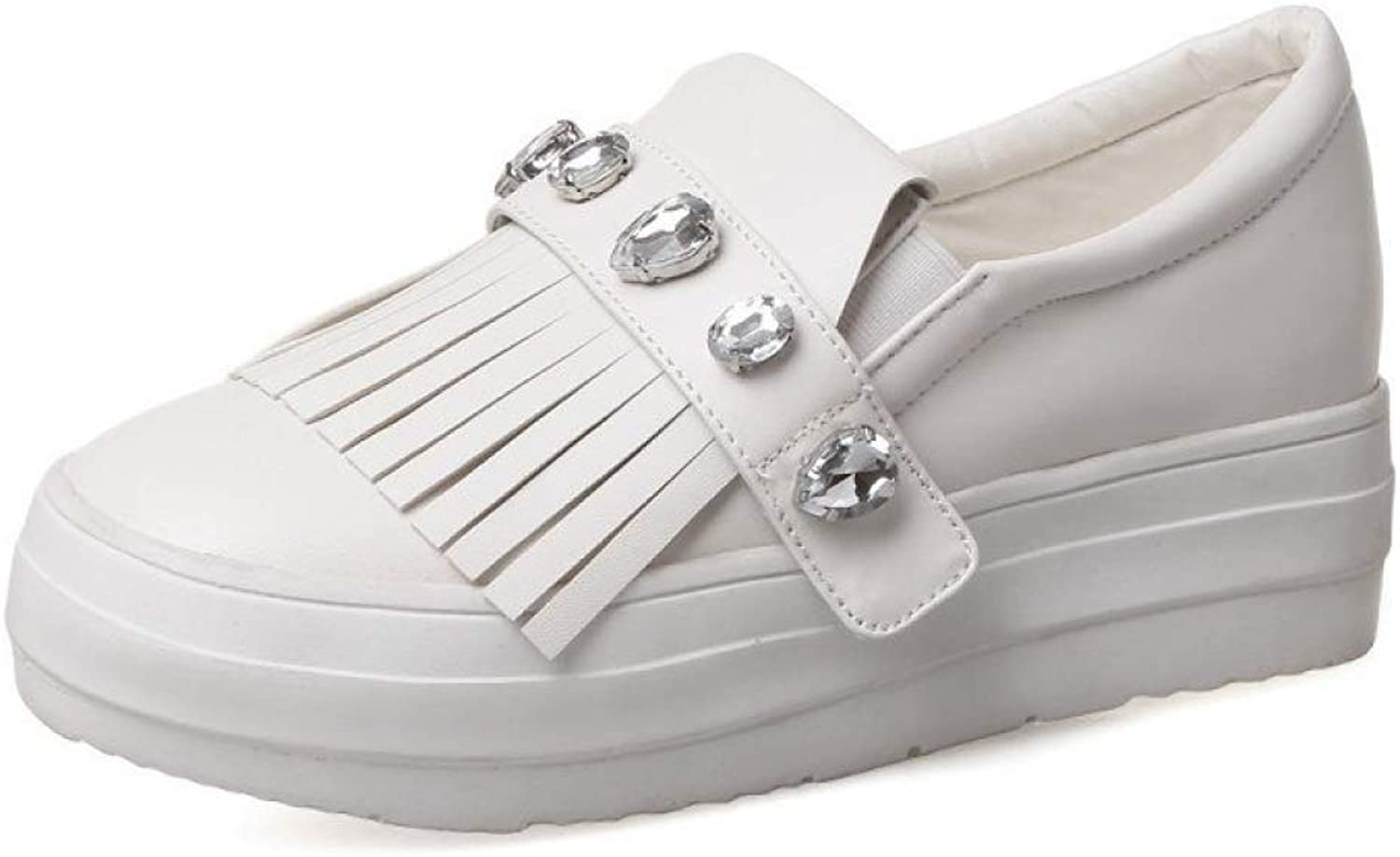 Fay Waters Womens PU Leather Loafers Crystal Tassel Platform Sneakers Casual Slip On Flats shoes