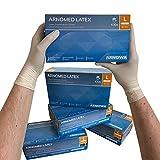 ARNOMED Latex Einweghandschuhe L, puderfrei, 100 Stück/Box, Einmalhandschuhe, Handschuhe Einweg, Latexhandschuhe in Gr. XS, S, M, L & XL verfügbar