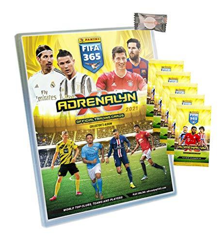 XL Panini Adrenalyn FIFA 365 Karten Trading Cards 2021 - 1 Sammelmappe + 5 Booster + Stickermarkt24de Gum