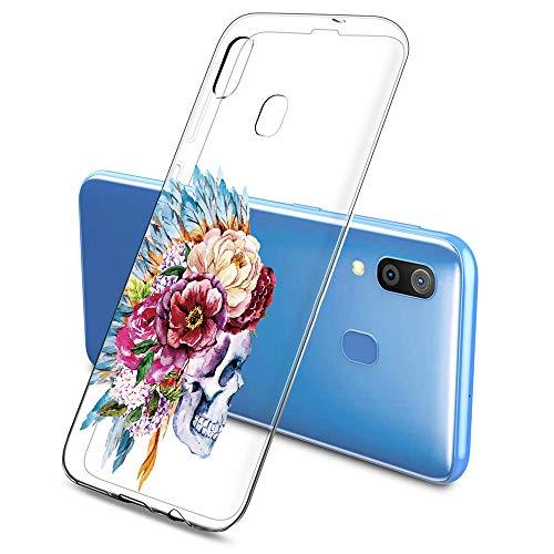 Oihxse Clair Crystal Soft Silicone Compatible pour Samsung Galaxy S20 Ultra 5G Coque Transparente TPU Crâne Rose Motif Design Housse Ultra Mince Protection Antichoc Etui(E9)