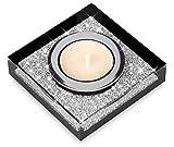 Elegante portacandele Lotus 1 con cristalli SWAROVSKI ELEMENTS – una luminosa decorazione da tavolo (1 pezzo, nero)