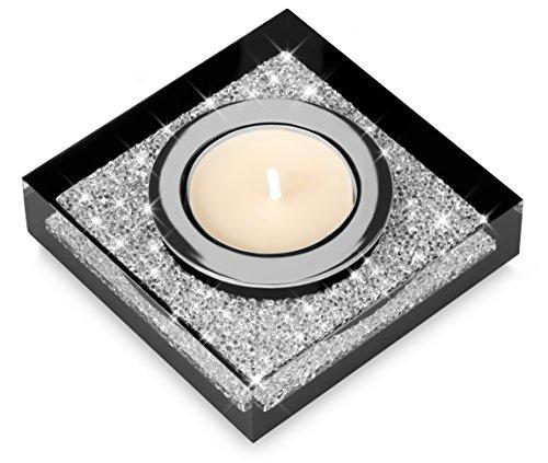 Porte-bougies chauffe-plat précieux Lotus 1 avec des cristaux SWAROVSKI ELEMENTS – décoration de table étincelante (1 pièce, noir)