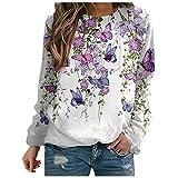 pour Jersey y cárdigan para mujer, jersey suelto, multicolor, a rayas, cuello redondo, manga larga, diseño de mariposas, Blanco, XL