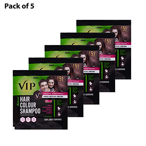 VIP Hair Colour Shampoo, Brown 20ml PACK OF 5