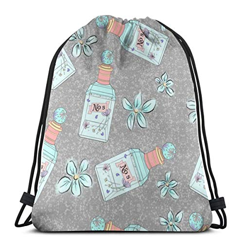 xdbgdfhdhdjdj French Floral Perfume 3D Print Drawstring Backpack Rucksack Shoulder Bags Sports Gym Bag For Adult 16.9'X14'inches