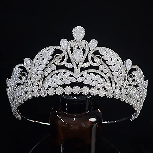 Vintage Full Cubic Zirconia CZ Tall Bridal Pageant Tiaras and Crowns for Wedding Birthday Sweet 16 Jewelry Headpiece Hair Accessories Silver HG0096