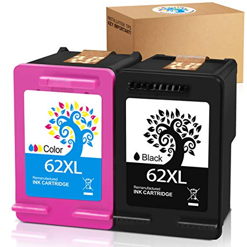 Price comparison product image H&BO TOPMAE Remanufactured 62XL Ink Cartridge Replacement for HP 62 XL 62XL use with HP Envy 5640 5540 5660 7645 7644 Officejet 5740 8040 OfficeJet 200 250 Mobile Printer (1 Black 1 Tri-Color)