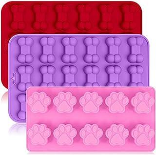 ZJMIYJ 3-pack silikon Eisformen-brickor med hundvalp tass och benform, återanvändbara bakvaror för bakning chokladgodis, u...