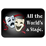All The World's a Stage Comedy Tragedy Drama Masks - Acting Theatre Theater 9' x 6' Metal Sign