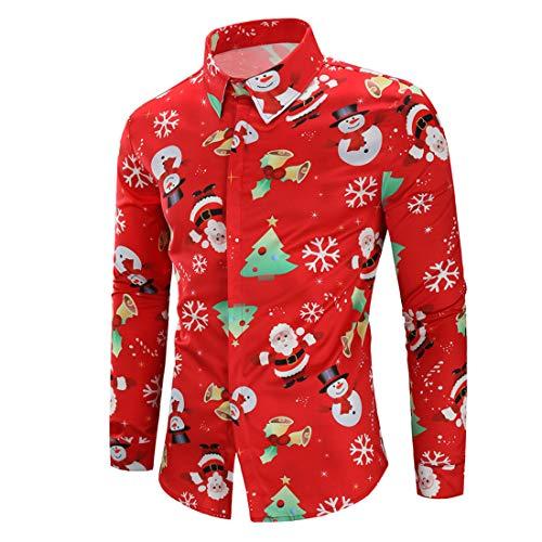 Hemd Herren Langarm 3D Weihnachtsdruck Slim Fit Shirt Für Cosplay Party Christmas Shirt Frühling Und Herbst Lässig Komfortabel Boutique Tops H-Black M