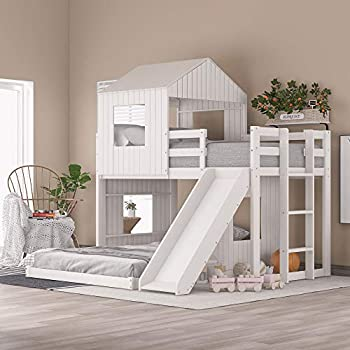 NORAN Wooden Twin Over Full Bunk Bed Loft Bed with Playhouse Farmhouse Ladder & Guardrails for Kids Toddlers Boys & Girls  White Twin Loft Bed with Slide
