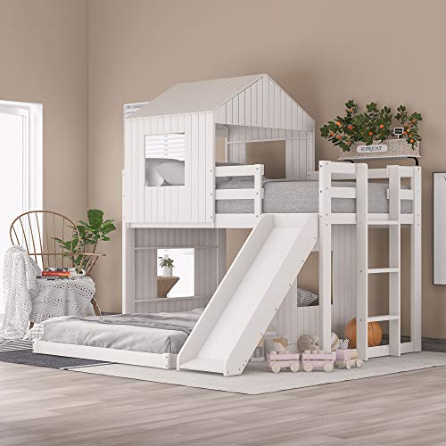 NORAN Wooden Twin Over Full Bunk Bed, Loft Bed with Playhouse, Farmhouse, Ladder & Guardrails for Kids, Toddlers, Boys & Girls (White, Twin Loft Bed with Slide)