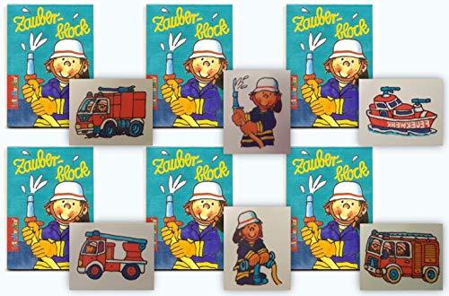 KSS 6 X Zauberblock und 6 X Tattoos im Feuerwehr Design für Kindergeburtstag als Mitgebsel , Mitbringsel , Party , Tombola , Verlosung