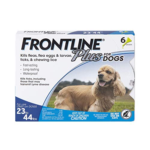 FRONTLINE Plus Flea and Tick Treatment for Dogs (Medium Dog, 23-44 Pounds, 6 Doses)