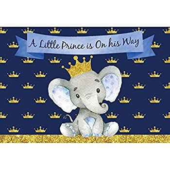 YongFoto 8x6.5ft Baby Shower Backdrop Elephant Crown Our Little Prince is on His Way Blue Photography Background Party Theme Cake Table Banner Child Portrait Photo Studio Wall Vinyl Poster