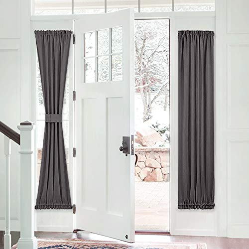 PONY DANCE French Door Curtain - Grey Blackout Drape Energy Saving Thermal Insulated Window Drapery/Front Door Panel Including Bonus Adjustable Tieback, 25 by 72 inch, 1 PC