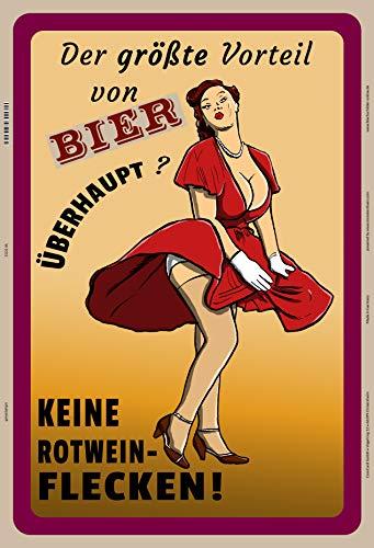 Grootste voordeel van Bier geen rode wijn vlekken pin up girl beer metalen bord bord bordje gewelfd metaal tin sign 20 x 30 cm