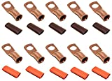 """10pcs 4 Gauge 4 AWG x 3/8"""" Pure Copper UL Listed Cable Lug Terminal Ring Connectors with Dual Wall Adhesive Lined Red + Black Heat Shrink Tubing – by WNI"""